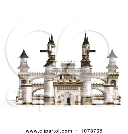 Clipart 3d Medieval White Palace 1 - Royalty Free CGI Illustration by Ralf61