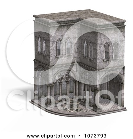 Clipart 3d Medieval Cloister Building 4 - Royalty Free CGI Illustration by Ralf61