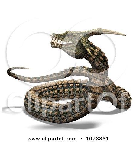 Clipart 3d Fanged Fantasy Snake 1 Royalty Free CGI Illustration