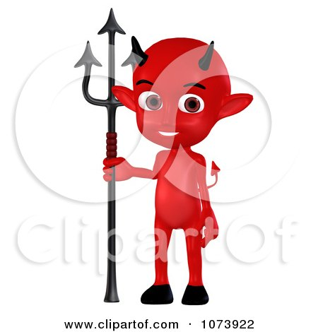 Clipart 3d Red Little Devil Holding A Pitchfork 1 - Royalty Free CGI Illustration by Ralf61