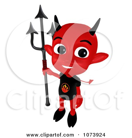 Clipart 3d Red Little Devil Holding A Pitchfork 3 - Royalty Free CGI Illustration by Ralf61