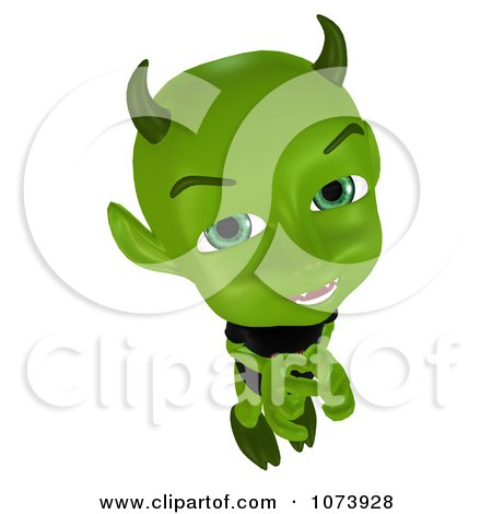 Clipart 3d Green Little Devil Thinking - Royalty Free CGI Illustration by Ralf61