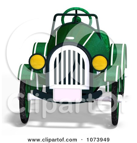 Clipart 3d Vintage Convertible Green Car 1 - Royalty Free CGI Illustration by Ralf61