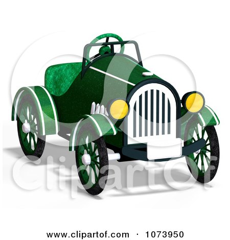 Clipart 3d Vintage Convertible Green Car 2 - Royalty Free CGI Illustration by Ralf61