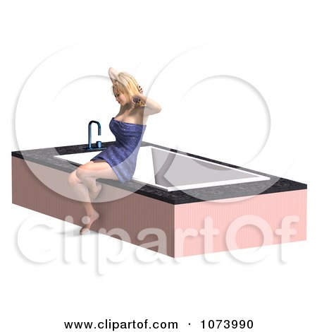 Clipart 3d Woman Draped In A Towel By A Bath Tub 1 - Royalty Free CGI Illustration by Ralf61