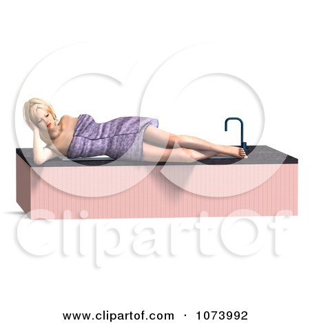 Clipart 3d Woman Draped In A Towel By A Bath Tub 3 - Royalty Free CGI Illustration by Ralf61