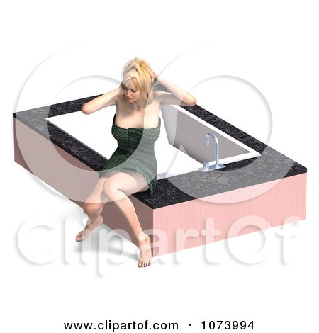 Clipart 3d Woman Draped In A Towel By A Bath Tub 5 - Royalty Free CGI Illustration by Ralf61