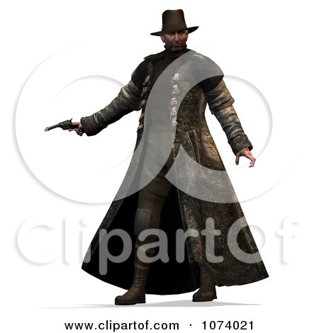 Clipart 3d Cowboy Hunter Holding A Pistol - Royalty Free CGI Illustration by Ralf61