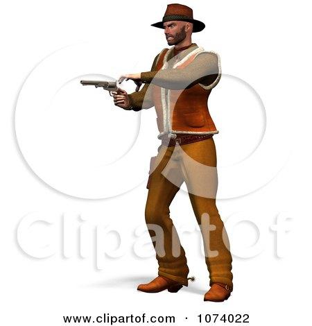 Clipart 3d Cowboy Shooting A Pistol 1 - Royalty Free CGI Illustration by Ralf61