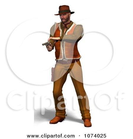 Clipart 3d Cowboy Shooting A Pistol 2 - Royalty Free CGI Illustration by Ralf61