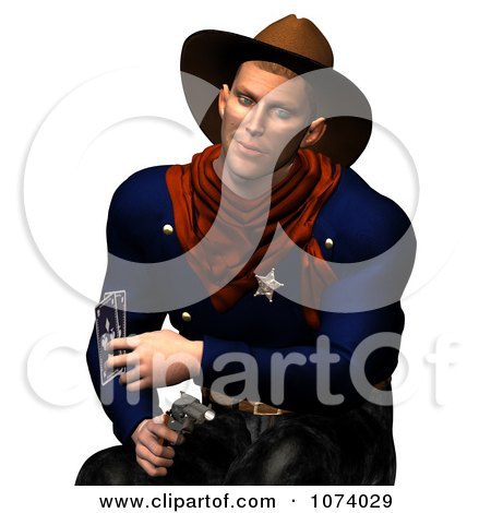 Clipart 3d Wild West Cowboy Holding A Pistol And Playing Cards - Royalty Free CGI Illustration by Ralf61