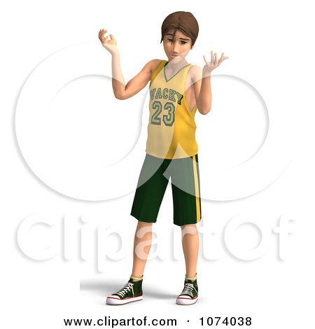 Clipart 3d Teen Basketball Player Boy Shrugging - Royalty Free CGI Illustration by Ralf61