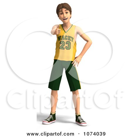 Clipart 3d Teen Basketball Player Boy Holding A Thumb Up - Royalty Free CGI Illustration by Ralf61