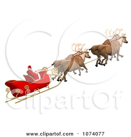 Clipart 3d Santa And Sleigh 2 - Royalty Free CGI Illustration by Ralf61