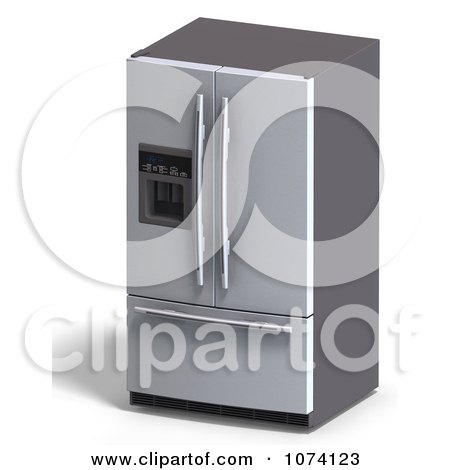 Clipart 3d Stainless Steel Fridge Kitchen Appliance - Royalty Free CGI Illustration by Ralf61