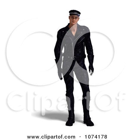 Clipart 3d Biker Man In Black - Royalty Free CGI Illustration by Ralf61
