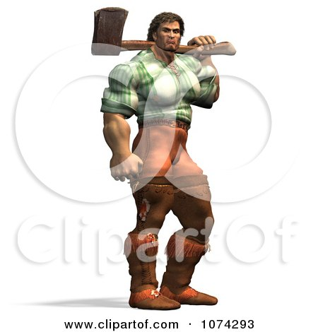 Clipart 3d Strong Mountain Man Holding A Chopping Axe 2 - Royalty Free CGI Illustration by Ralf61
