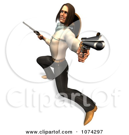 Clipart 3d Gunslinger Man Lunging 2 - Royalty Free CGI Illustration by Ralf61