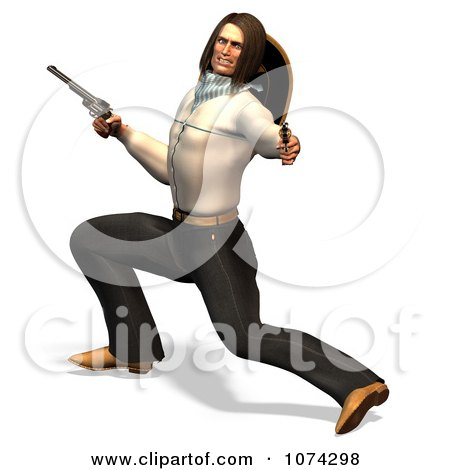 Clipart 3d Gunslinger Man Lunging 1 - Royalty Free CGI Illustration by Ralf61