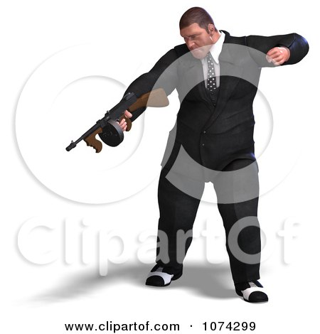 Clipart 3d Mafia Gangster With A Tommy Gun 1 - Royalty Free CGI Illustration by Ralf61