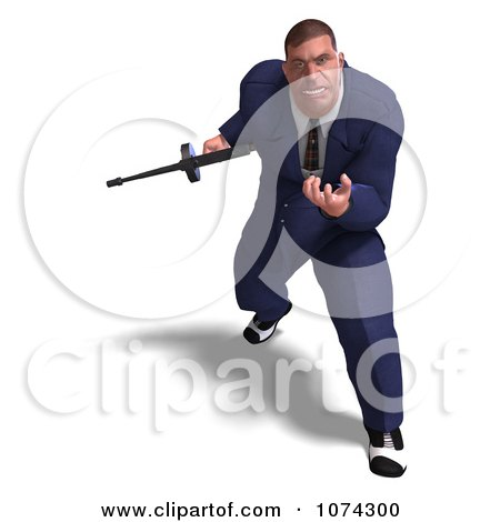 Clipart 3d Mafia Gangster With A Tommy Gun 2 - Royalty Free CGI Illustration by Ralf61
