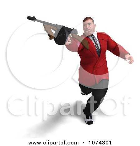Clipart 3d Mafia Gangster With A Tommy Gun 3 - Royalty Free CGI Illustration by Ralf61