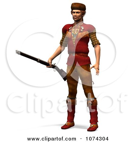Clipart 3d Pioneer Mountain Man With A Rifle 1 - Royalty Free CGI Illustration by Ralf61