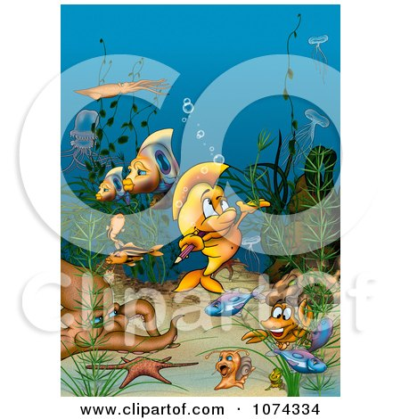 Clipart Fish Biting A Pencil And Surrounded By Other Sea Creatures - Royalty Free Illustration by dero