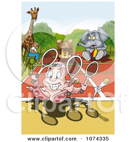 Clipart Octopus Playing Tennis With Other Animals - Royalty Free Illustration by dero