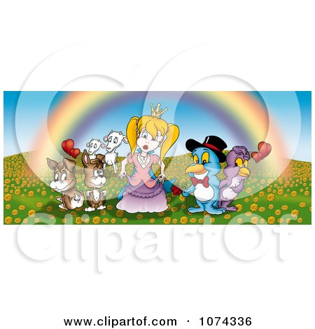 Clipart Animals Surrounding A Princess Under A Rainbow - Royalty Free Illustration by dero