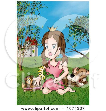 Clipart Princess With Animals In A Castle Meadow - Royalty Free Illustration by dero
