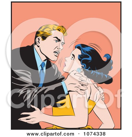 Clipart Retro Pop Art Couple Arguing - Royalty Free Vector Illustration by brushingup