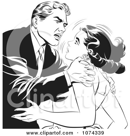 Clipart Black And White Retro Pop Art Couple Fighting - Royalty Free Vector Illustration by brushingup