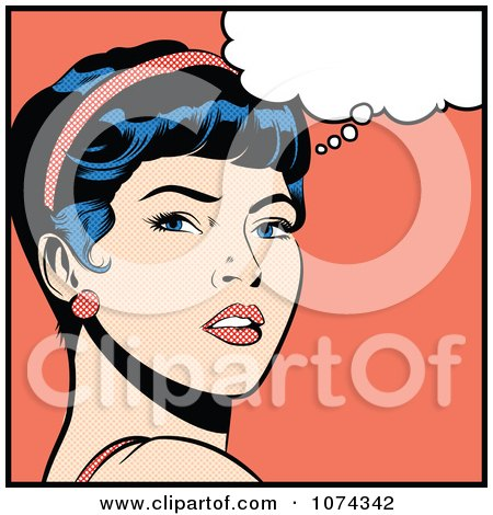 Clipart Retro Pop Art Woman In Deep Thought - Royalty Free Vector Illustration by brushingup