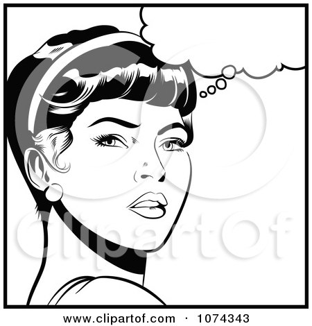 Clipart Black And White Retro Pop Art Woman In Deep Thought - Royalty Free Vector Illustration by brushingup