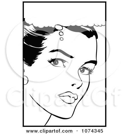 Clipart Black And White Retro Pop Art Woman In Thought - Royalty Free Vector Illustration by brushingup