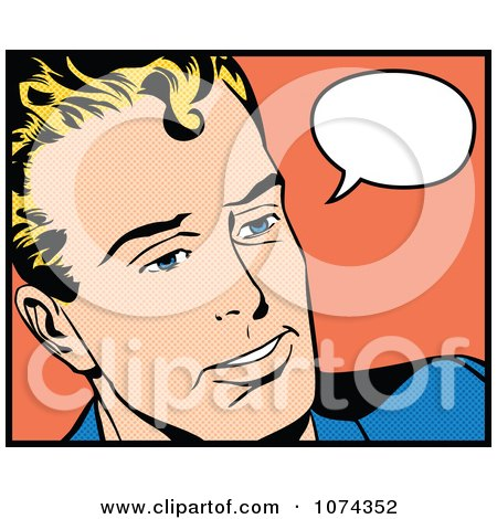 Clipart Retro Pop Art Man With A Speech Balloon 2 - Royalty Free Vector Illustration by brushingup