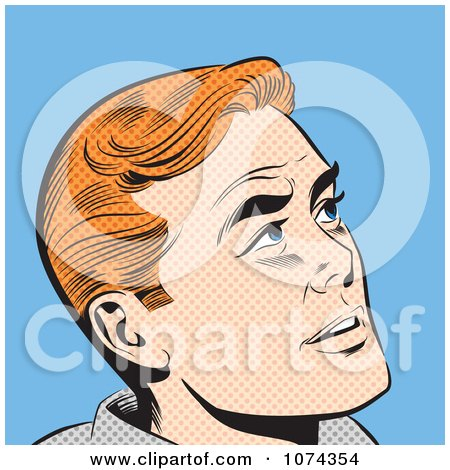 Clipart Retro Pop Art Red Haired Man Looking Up - Royalty Free Vector Illustration by brushingup
