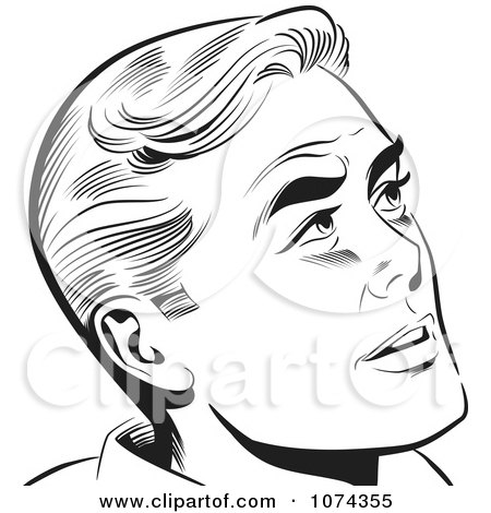 Clipart Black And White Retro Pop Art Man Looking Up - Royalty Free Vector Illustration by brushingup