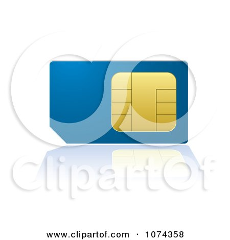 Clipart 3d Blue And Gold Cell Phone SIM Card With A Reflection - Royalty Free Vector Illustration by michaeltravers