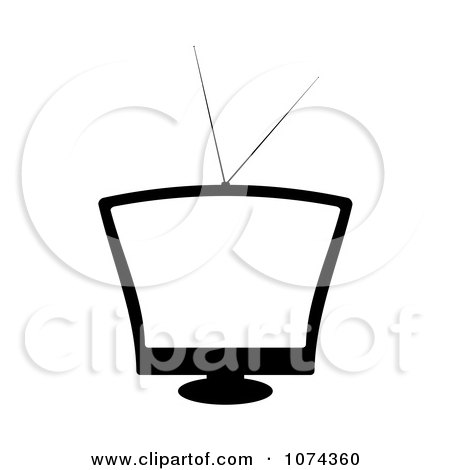 Clipart Retro Black And White Television With A Blank Screen - Royalty Free Vector Illustration by michaeltravers