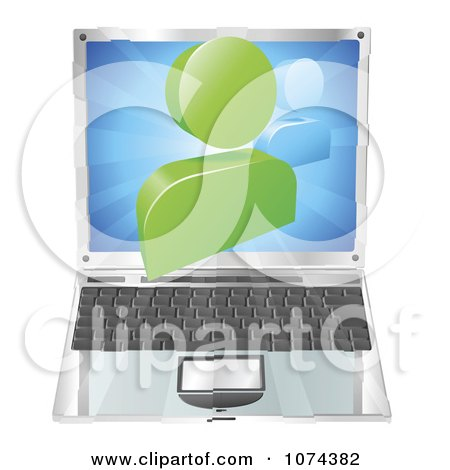 Clipart 3d Chat Icon Emerging From A Laptop Computer - Royalty Free Vector Illustration by AtStockIllustration