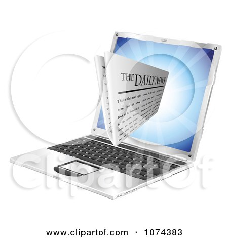 Clipart 3d Daily Newspaper Emerging From A Laptop Computer - Royalty Free Vector Illustration by AtStockIllustration