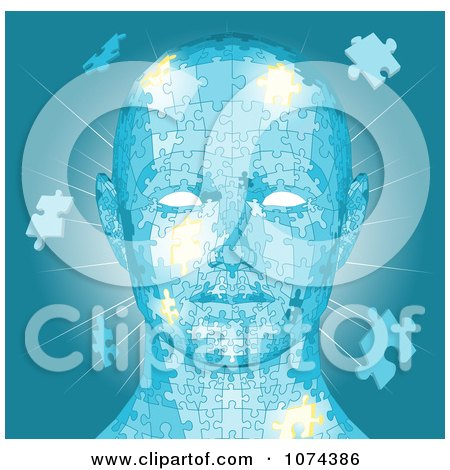 Blue Human Head With Puzzle Pieces And Light Posters, Art Prints
