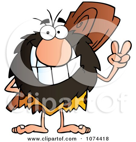 Clipart Caveman Gesturing Peace And Holding A Club Behind His Back 1 - Royalty Free Vector Illustration by Hit Toon