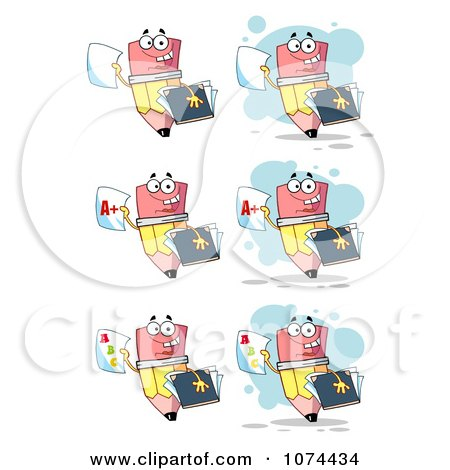Clipart School Pencils Holding Report Cards - Royalty Free Vector Illustration by Hit Toon