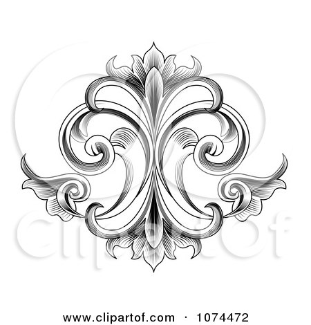 Clipart Black And White Engraved Victorian Floral Design Element - Royalty Free Vector Illustration by vectorace