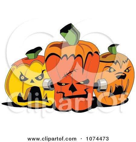 Clipart Creepy Dracula Frankenstein And Werewolf Jackolantern Halloween Pumpkins - Royalty Free Vector Illustration by erikalchan