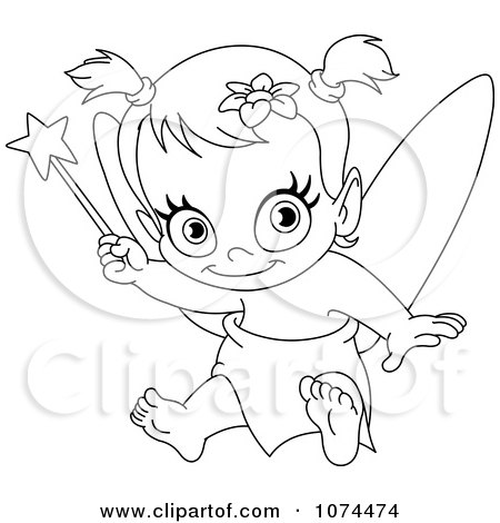 Clipart Sitting Fairy Outline Royalty Free Vector