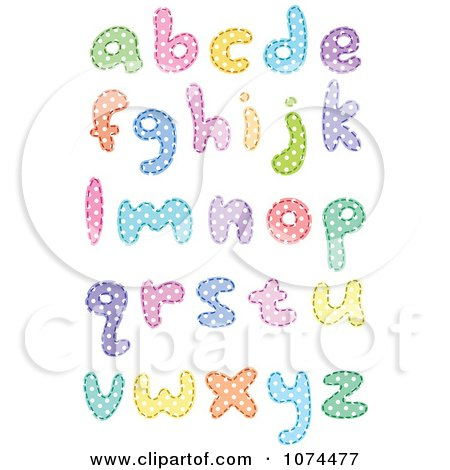 Clipart Colorful Polka Dot Patterned Lowercase Letters - Royalty Free Vector Illustration by yayayoyo